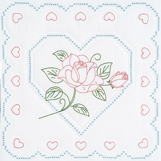 """Stamped White Quilt Blocks 18""""X18"""" 6/Pkg-Rose And Heart"""