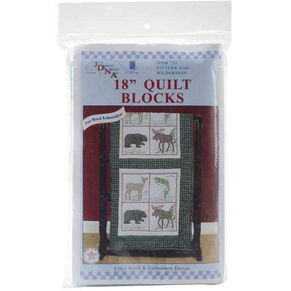 """Stamped White Quilt Blocks 18""""X18"""" 6/Pkg-Wilderness"""