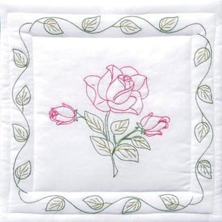 "Stamped White Cotton/Poly Quilt Blocks 18""X18"" 6/Pkg-Rose"