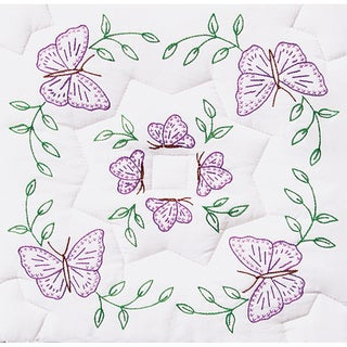 "Stamped White Quilt Blocks 18""X18"" 6/Pkg-Interlocking Circle Of Butterflies"