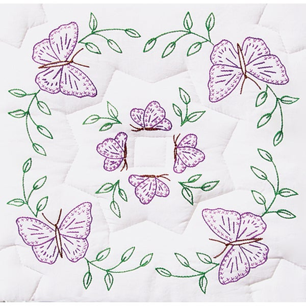 "Stamped White Quilt Blocks 18""X18"" 6/Pkg-Interlocking Circle Of Butterflies"