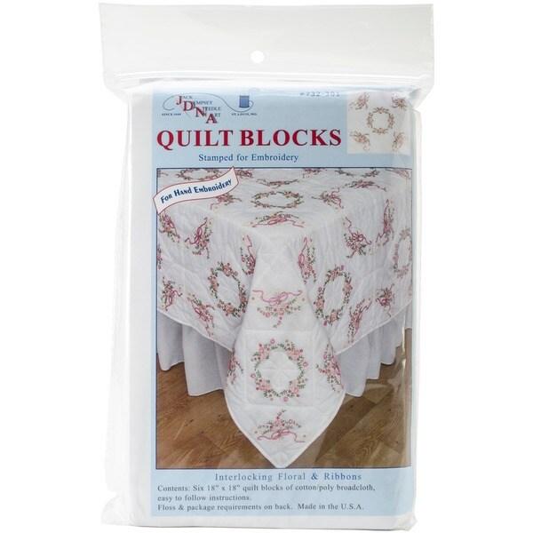 "Stamped White Quilt Blocks 18""X18"" 6/Pkg-Interlocking Floral & Ribbons"