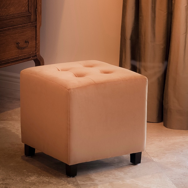 Tufted Camel Microfiber Cube Ottoman by Christopher Knight Home