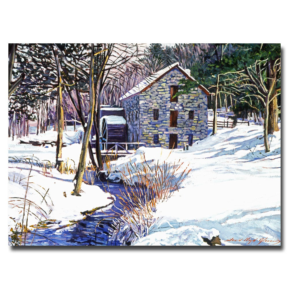 David Lloyd Glover 'Snow Mill' Gallery-Wrapped Canvas Art