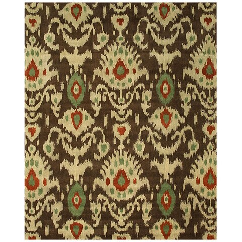 Hand-tufted Wool Brown Contemporary Abstract Ikat Rug