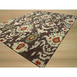 EORC Hand-tufted Wool Brown Ikat Rug (5' x 8')