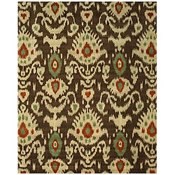Hand-tufted Wool Brown Contemporary Abstract Ikat Rug - Thumbnail 0