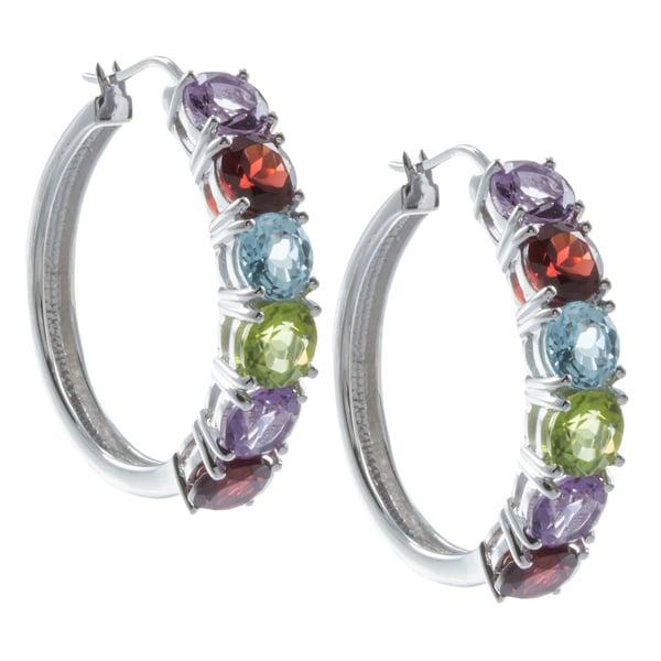 Sunstone Sterling Silver Genuine Multi-gemstone Prong-set Hoop Earrings