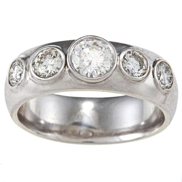 14k White Gold 1 2/3ct TDW Band Estate Ring (G-H, SI1-SI2)