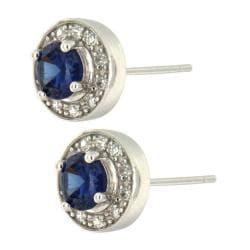 Pearlz Ocean Blue and White Cubic Zirconia Stud Earrings