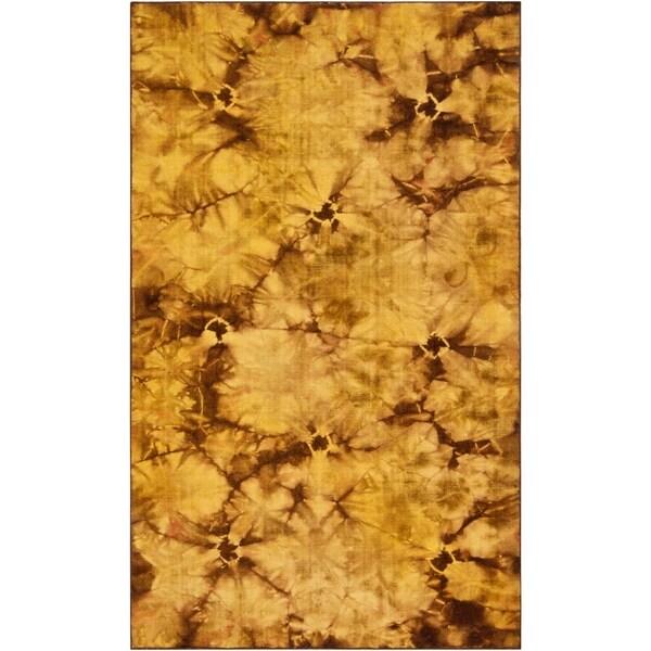 Hand-woven Brown Caparo Street Wool Area Rug - 5' x 8'