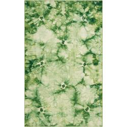 Hand-woven Green Caparo Street Wool Rug (5' x 8')