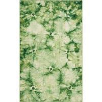 Hand-woven Green Caparo Street Wool Area Rug - 5' x 8'