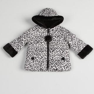 Toddler Girls Black/ White Leopard Jacket