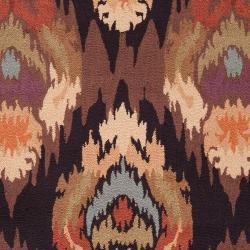Hand-hooked 'Benton' Brown Rug (8' x 10') - Thumbnail 2