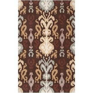 Hand-hooked 'Benton' Brown Rug (5' x 8')
