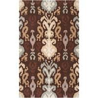 Hand-hooked 'Benton' Brown Area Rug (5' x 8')