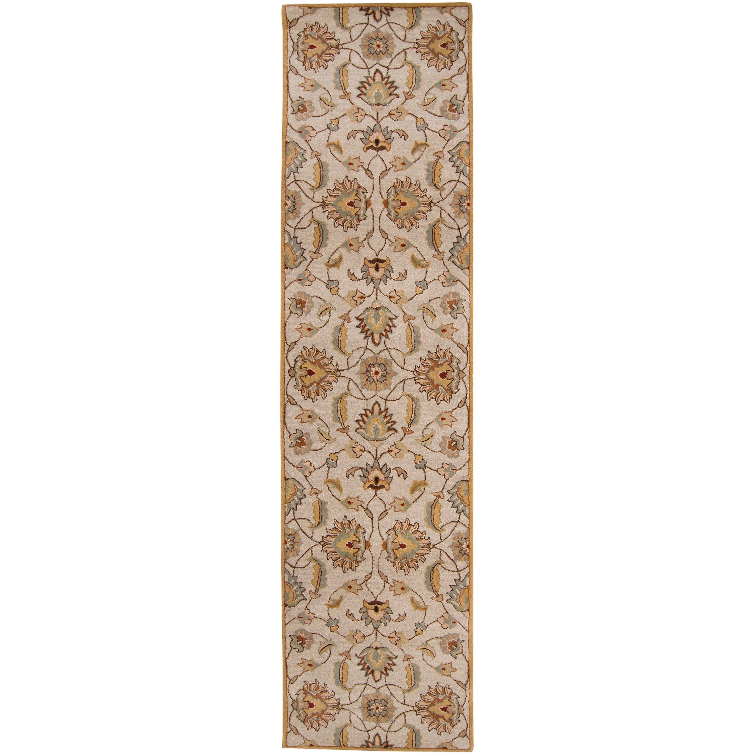 Hand-tufted 'Kiser' Gold Wool Rug (3' x 12')