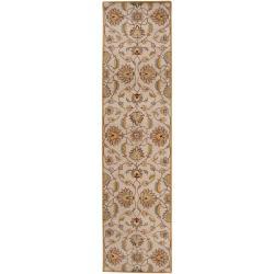 Hand-tufted 'Kiser' Gold Wool Area Rug (3' x 12') - Thumbnail 0