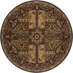 Hand-tufted 'Kiser' Brown Wool Rug (9'9 Round)