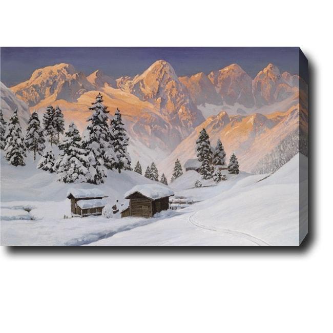 'Snow Mountain' Oil Canvas Art - Multi