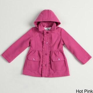 Girl's Ruffle Detachable Hood Coat