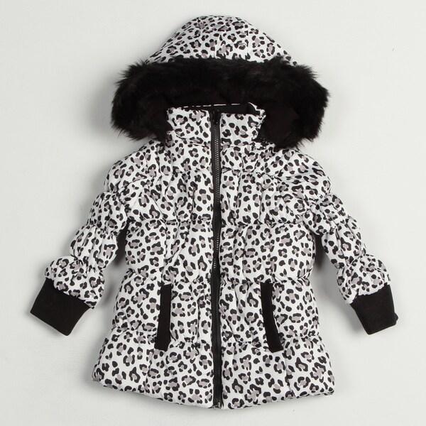 Girl's Black/White Leopard Jacket