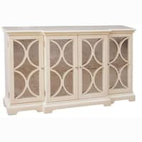 Cream Finish Antiqued Mirror Accent Chest/ Credenza - Multi