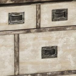 Hand-painted Distressed Brown/ Cream Accent Chest - Thumbnail 2