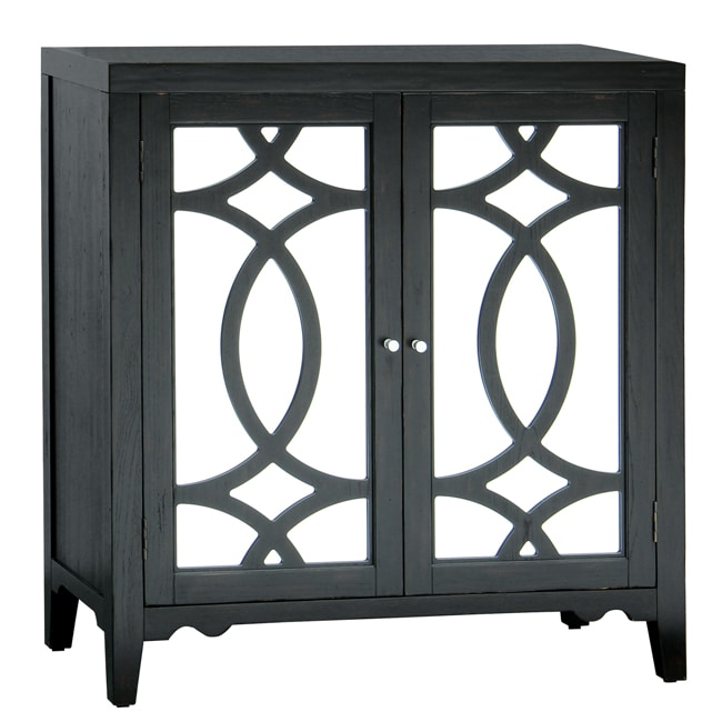 Black Painted Finish Mirrored Accent Chest