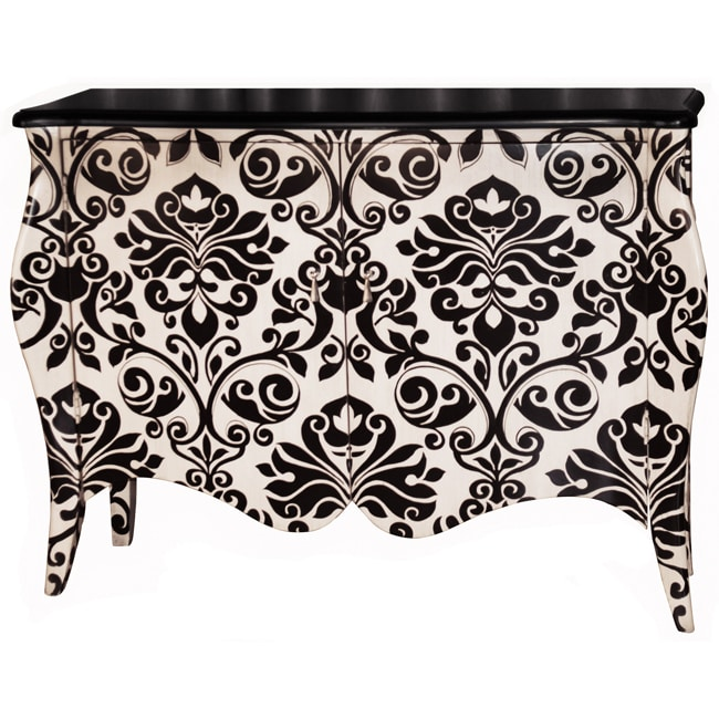 Hand-painted Black/ White Accent Chest