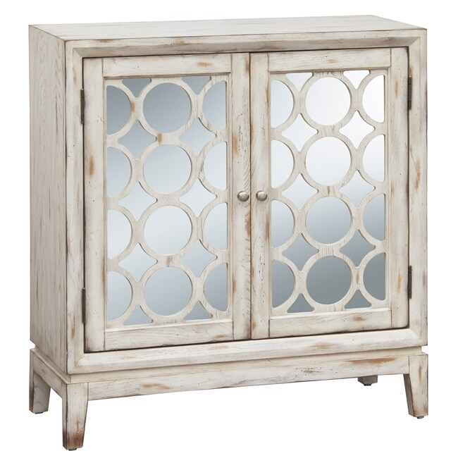 Distressed Vintage White Mirrored Accent Chest - Thumbnail 0