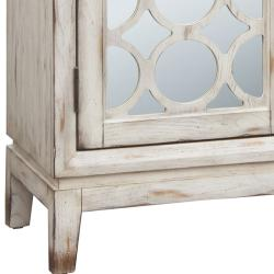 Distressed Vintage White Mirrored Accent Chest  Free Shipping