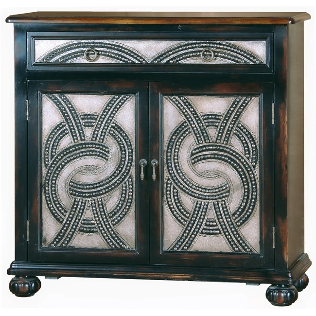 Distressed Brown Faux Metal Front Accent Chest