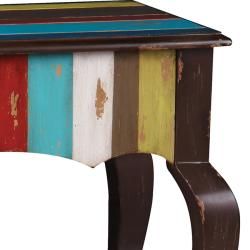Hand-painted Distressed Brown/ Multicolor Stripped Accent Table - Thumbnail 2