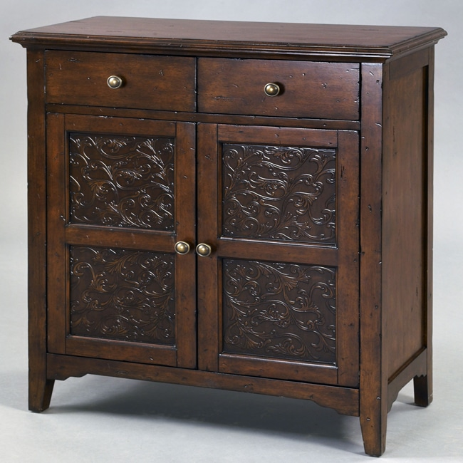 Hand-painted Distressed Faux Metal Front Brown Accent Chest