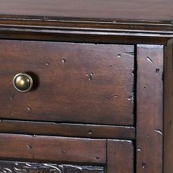 Hand-painted Distressed Faux Metal Front Brown Accent Chest - Thumbnail 2