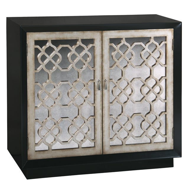 Black Finish Antiqued Mirror Accent Chest
