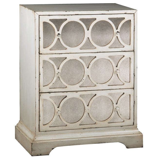 Distressed Cream Antiqued Mirror Accent Chest