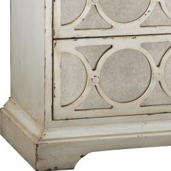 Distressed Cream Antiqued Mirror Accent Chest - Thumbnail 2