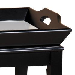 Espresso Brown Mirrored Tray Table - Thumbnail 1