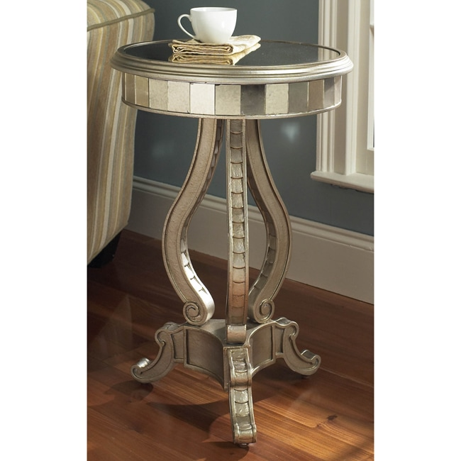 Hand-painted Silver Mirrored Accent Pedestal Table