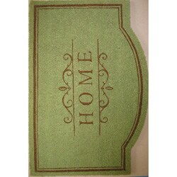 Cocoa Matting 'Home' Green Door Mat (22 x 34)