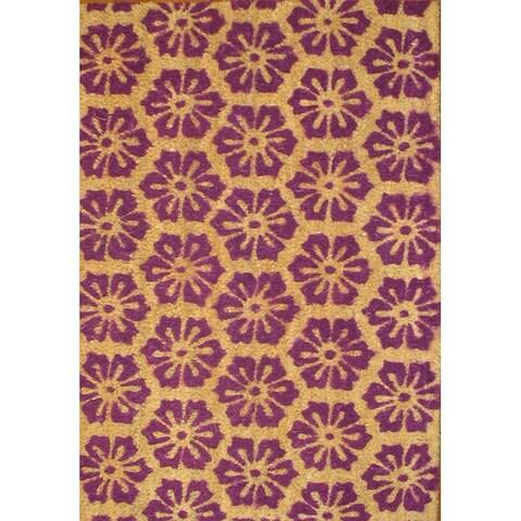 Cocoa Matting 'Purple Burst' Tan Door Mat (16 x 24)