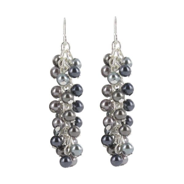 Roman Silvertone Blue and Grey Faux Pearl Dangle Earrings