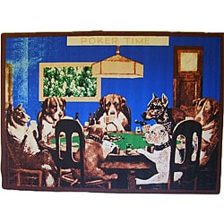 Poker Time Blue Area Rug (5' x 8')