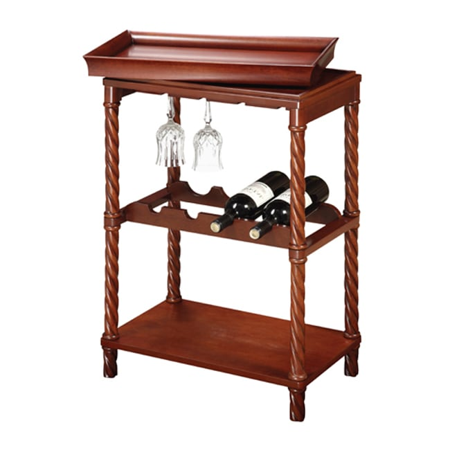 Vintage Cherry Finish Wine/ Bar Cart, Brown