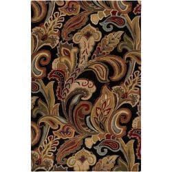 Hand-tufted Black Sandy Dunes Wool Area Rug (5' x 8') - Thumbnail 0