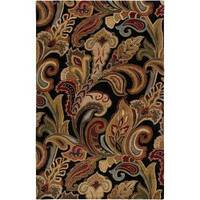 Hand-tufted Black Sandy Dunes Wool Area Rug (5' x 8')