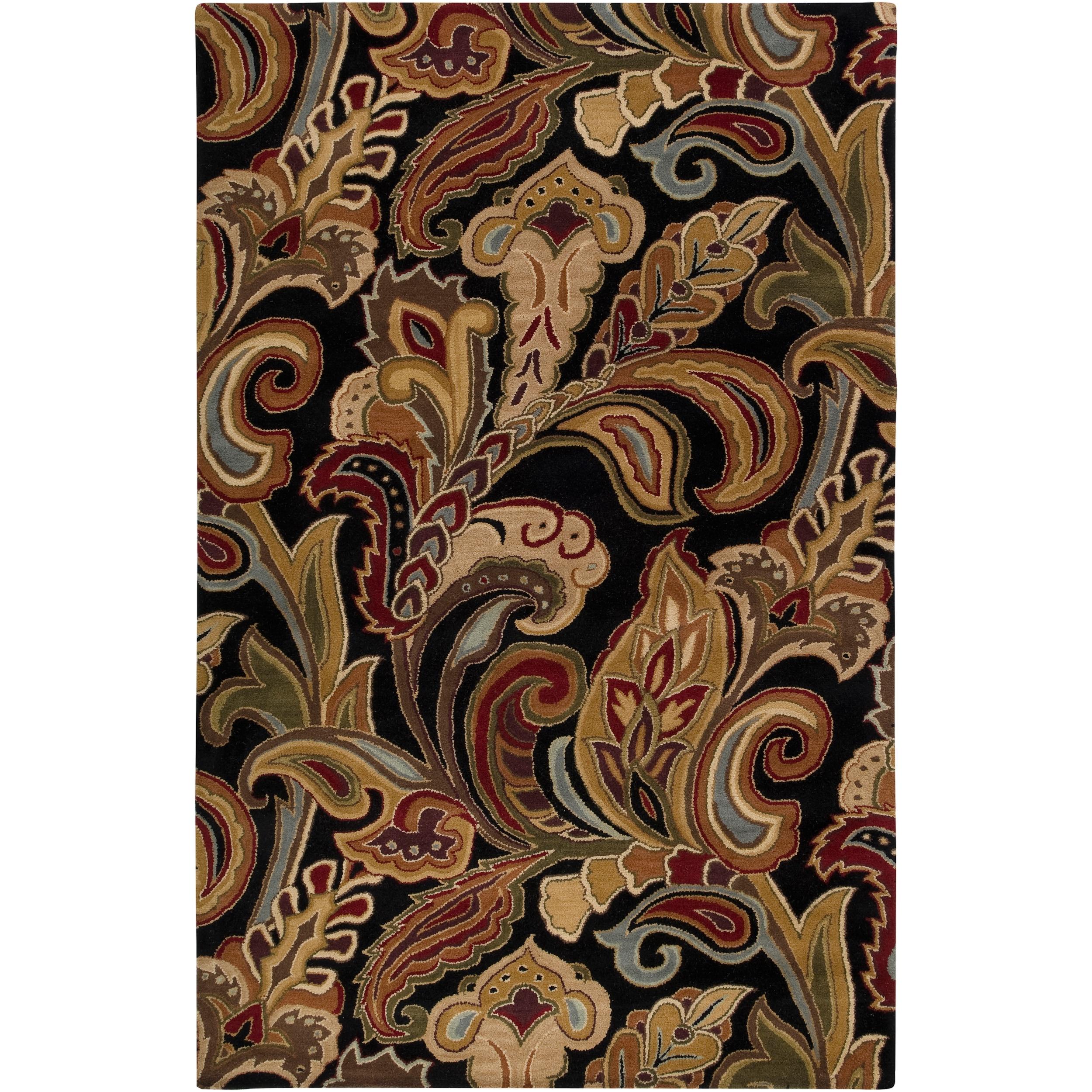 Hand-tufted Black Sandy Dunes Wool Area Rug (5' x 8')